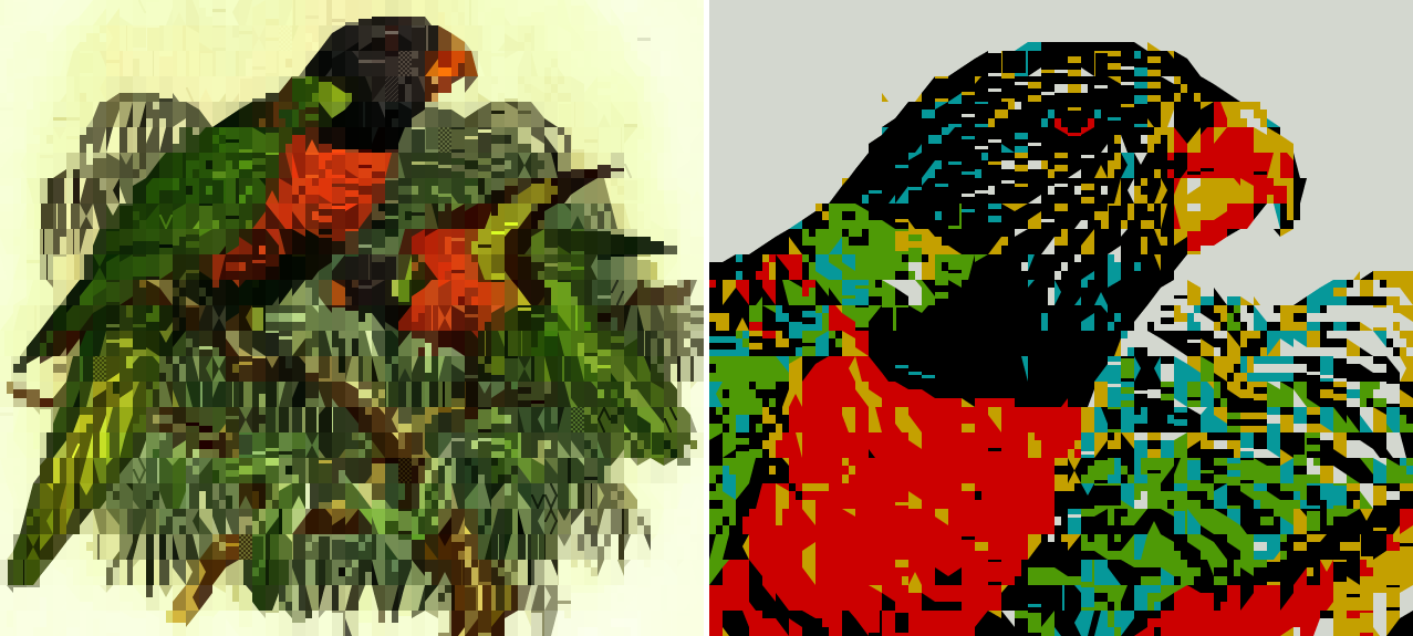 PETSCII parrots rendered by Chafa